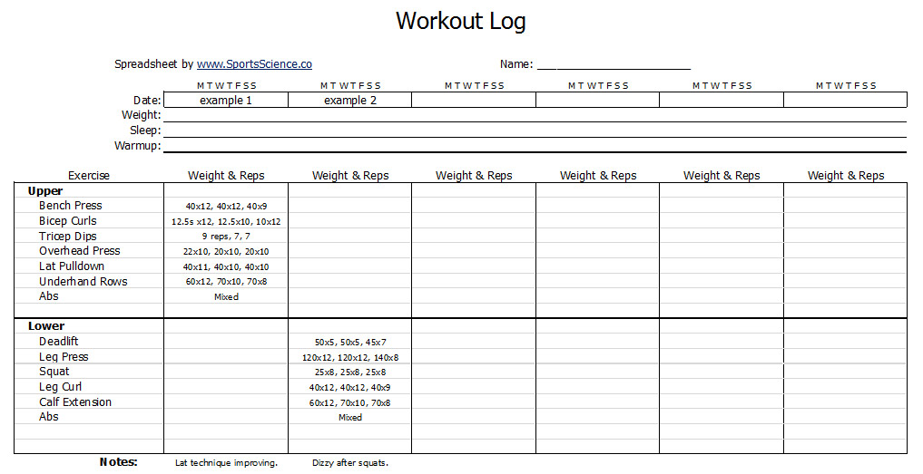 Free workout log template sports science co for Daily work tracker template