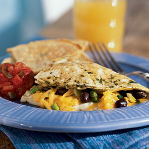 Southwestern Omelet with Vegetables and Cheese