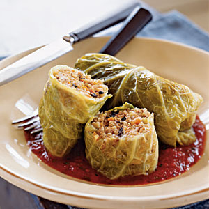 Turkey Stuffed Cabbage with Tomato Puree