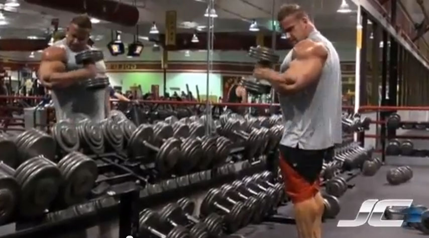 Jay Cutler Doing Hammer Curls
